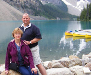 Debbie and her husband in the Canadian Rockies.